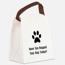 Hugged Dog Black.png Canvas Lunch Bag