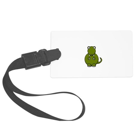TRex Clap Your Hands Black.png Large Luggage Tag