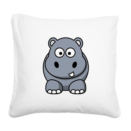 Hippo ONLY.png Square Canvas Pillow