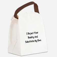 Reject Your Reality Black.png Canvas Lunch Bag