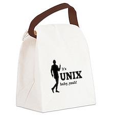 Unix Yeah Black.png Canvas Lunch Bag