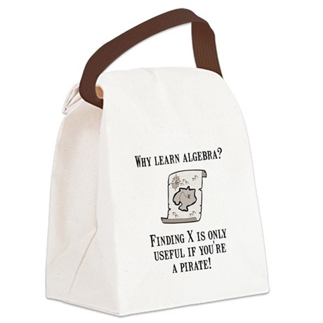Algebra Pirate Black.png Canvas Lunch Bag