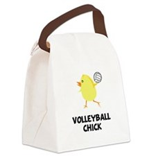 Volleyball Chick Black.png Canvas Lunch Bag