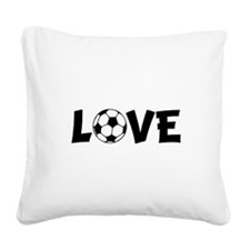 Love Soccer Black.png Square Canvas Pillow