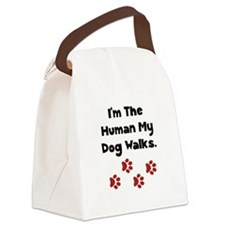 Human Dog Walks Black.png Canvas Lunch Bag