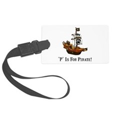 P Is For Pirate Black Only.png Luggage Tag
