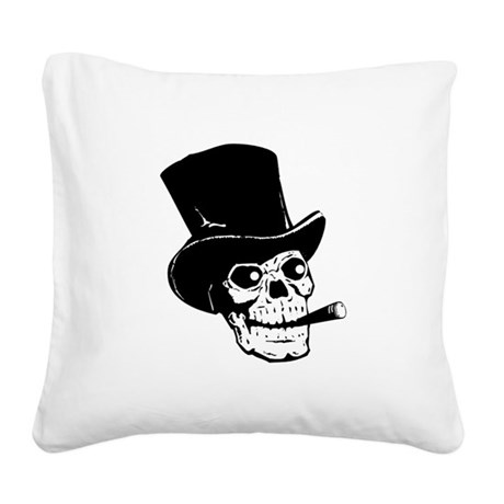Top Hat Skull Black.png Square Canvas Pillow