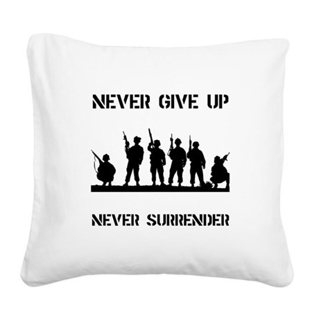 Never Give Up Military Black.png Square Canvas Pil
