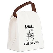 Smile Jesus Love You Black.png Canvas Lunch Bag