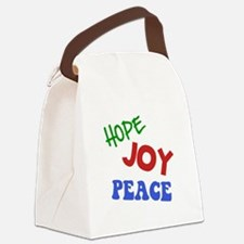Hope Joy Peace Green ONLY.png Canvas Lunch Bag