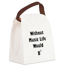 Music B Flat Black.png Canvas Lunch Bag