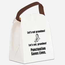 Punctuation Saves Lives Black.png Canvas Lunch Bag