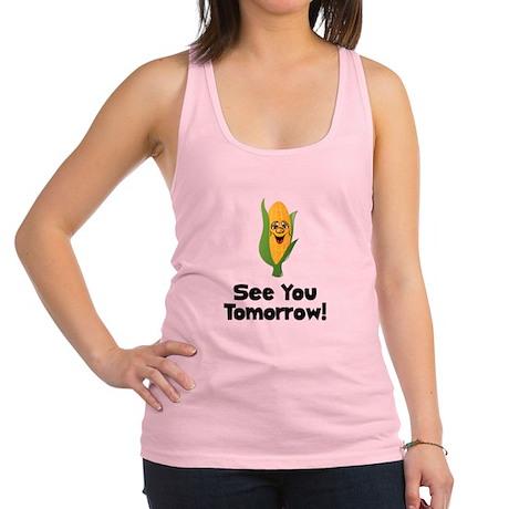 Corn See Tomorrow Black.png Racerback Tank Top