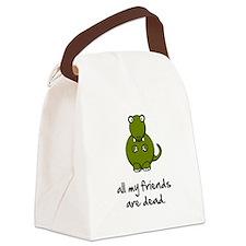 Dinosaur Friends Dead Black.png Canvas Lunch Bag