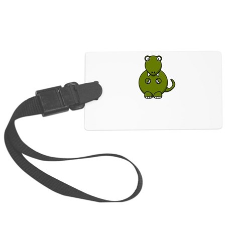 Dinosaur Friends Dead Black.png Large Luggage Tag