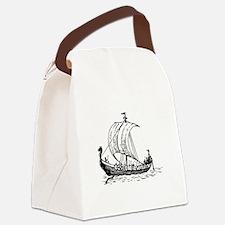 Viking Ship Black.png Canvas Lunch Bag