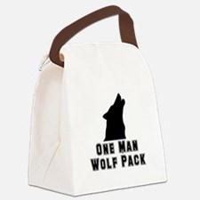 One Man Wolf Pack Black.png Canvas Lunch Bag