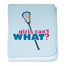 Lacrosse Stick Blue baby blanket