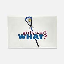 Lacrosse Stick Blue Rectangle Magnet