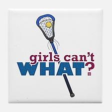 Lacrosse Stick Blue Tile Coaster