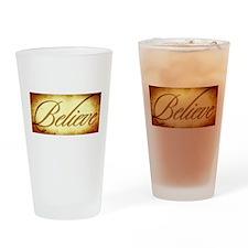 Believe vintage print Drinking Glass