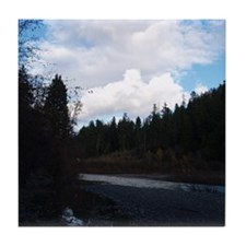 Eel River with Clouds Tile Coaster
