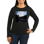 Eel River with Clouds Women's Long Sleeve Dark T-S