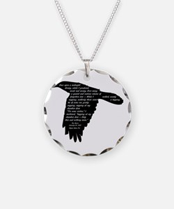 The Raven - Edgar Allan Poe Necklace Circle Charm