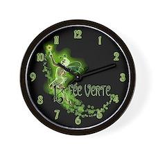 Dark Absinthe Fairy Flying Wall Clock