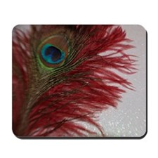 Peacock with Red Mousepad