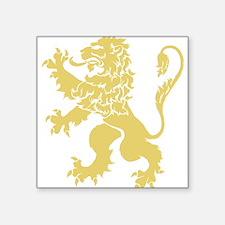 "Gold Rampant Lion Square Sticker 3"" x 3"""