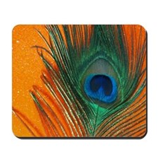 peacock with sparkly orange Mousepad