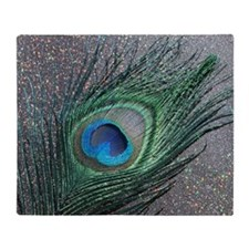 Sparkly Black Peacock Throw Blanket
