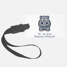 H is for Happy Hippo Grey.png Luggage Tag