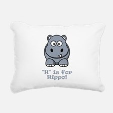 H is for Hippo Grey.png Rectangular Canvas Pillow
