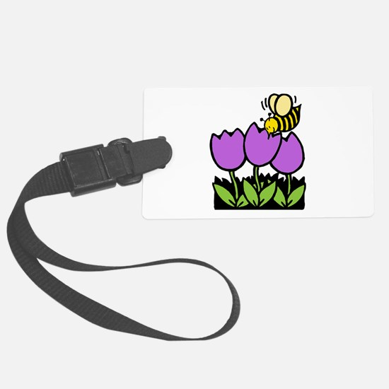 Bee Flowers Black Only.png Luggage Tag