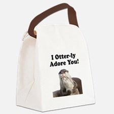 Otterly Adore Black.png Canvas Lunch Bag