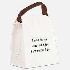 Karma Slap Black.png Canvas Lunch Bag