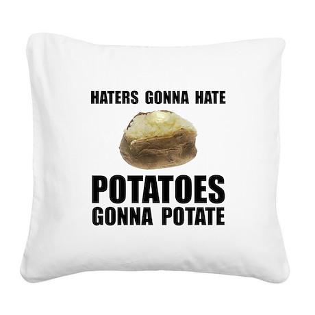 Potatoes Potate Black.png Square Canvas Pillow