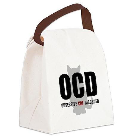 OCD Cat Black.png Canvas Lunch Bag
