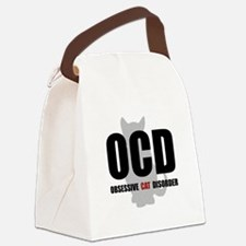OCD Cat Black.png Canvas Lunch Bag