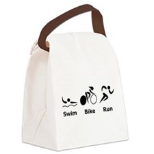 Swim Bike Run Black.png Canvas Lunch Bag