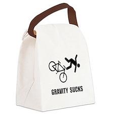 Gravity Sucks Bike Black.png Canvas Lunch Bag