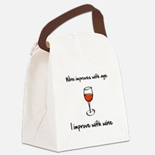 Wine Improves Black.png Canvas Lunch Bag