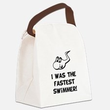 Fastest Swimmer Black.png Canvas Lunch Bag
