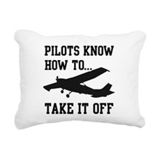 PilotsTakeOff Black.png Rectangular Canvas Pillow