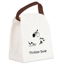 Triathlon Dude Black.png Canvas Lunch Bag