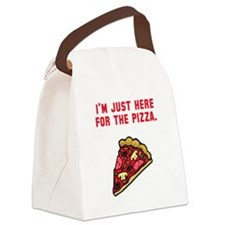 Here For The Pizza Red.png Canvas Lunch Bag