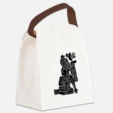Mexican Aztec Seal Black White.png Canvas Lunch Ba