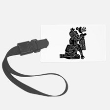 Mexican Aztec Seal Black White.png Luggage Tag